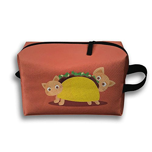 Women's Travel Case Cosmetic Storage Bags Cute Cat Taco Makeup Clutch Pouch Organizer Bag Pencil Holder