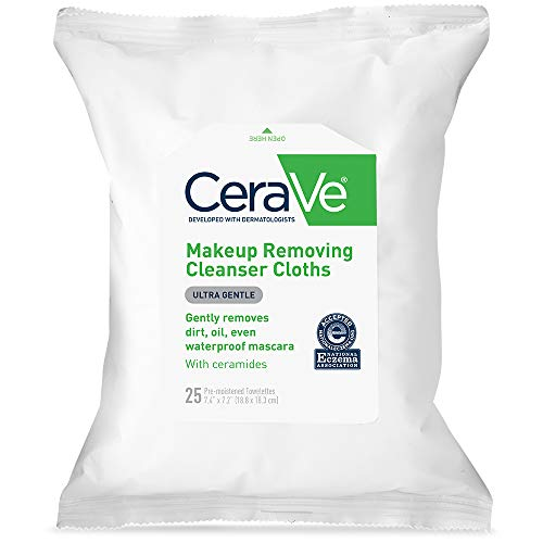 CeraVe Face & Eye Makeup Remover Wipes | 25 Count | Gently Removes Dirt, Oil, & Waterproof Makeup | Fragrance Free & Non-Irritating