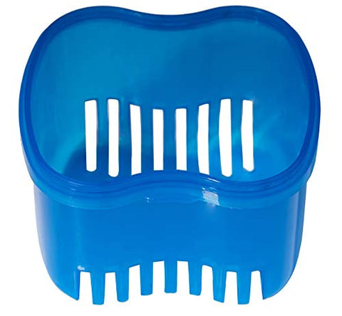 Denture Brush Retainer Case, Denture Case,Denture Cups Bath,Dentures Container with Basket Denture Holder for Travel,Mouth Guard Night Gum Retainer Container (Blue)