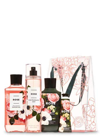 Bath and Body Works ROSE Gift Bag Set - Body Lotion - Shower Gel - Hand Cream and Fine Fragrance Mist - Full Size