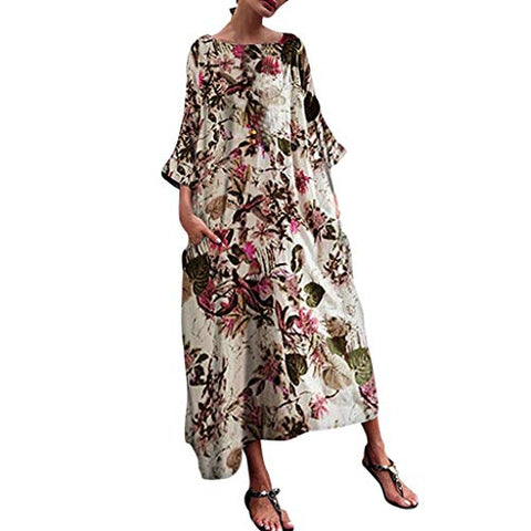 terbklf 3/4 Sleeve Maxi Dresses for Women Plus Size Floral Dresses for Women Summer Loose Beach Party Casual Dress Red