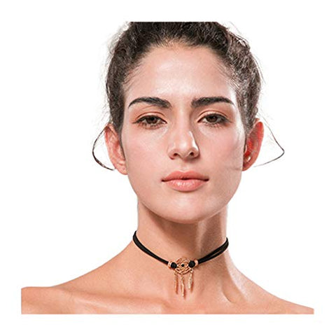 Yalice Fashion Dreamcatcher Choker Necklace Chain Leaf Feather Necklaces Jewelry for Women and Girls (Brown)