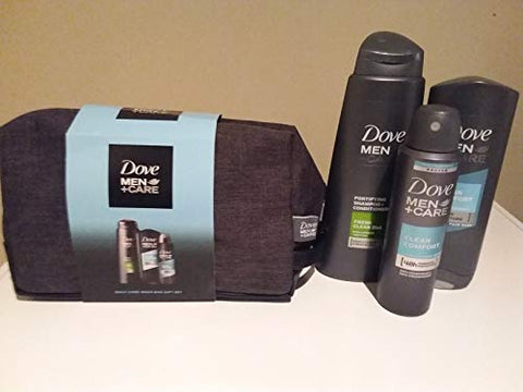 Dove Mens 4 Piece Gift Set, Clean Comfort Body+Face Wash and Antiperspirant, Fresh and Clean 2 in 1 Shampoo and Conditioner