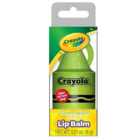 Officially Licensed Crayon Lip Balm Stocking Stuffer Clip, Net Wt 0.21 Oz (Green Apple)