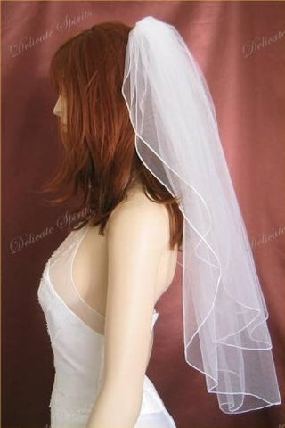 Bridal Wedding Plain Veil White 2 Tiers Elbow Length With Pencil Edge