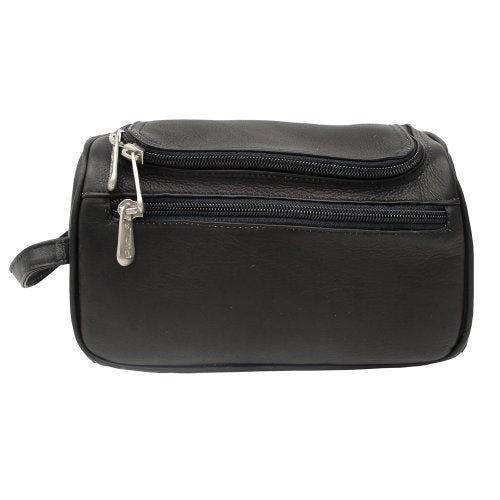 Piel Leather U-Zip Toiletry Kit, Black, One Size