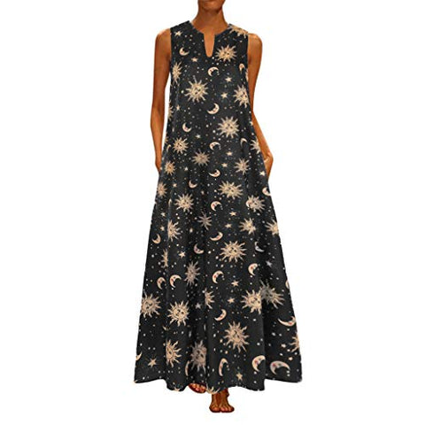 TEVEQ Women Maxi Dress Vintage Dresses for Women Plus Size Dress Sleeveless Floral Summer Boho Dress Yellow
