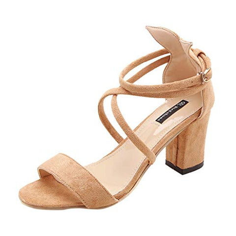 Xinantime Womens Thick Heels Solid Colour Shoe Ladies Summer Causal Single Shoes Sandals (Khaki,34)