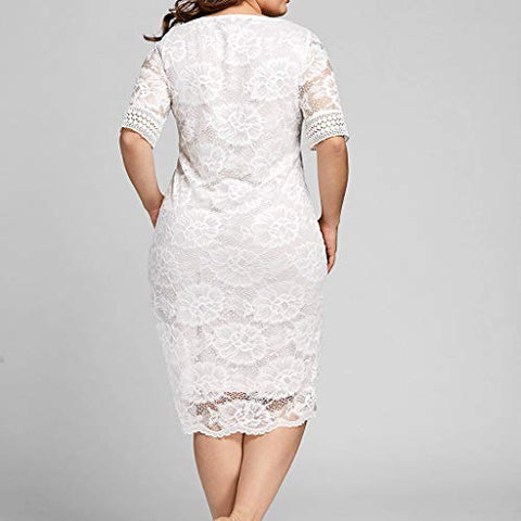 haoricu Womens Elegant Lace Prom Dress Summer V Neck Short Sleeve Slim Fit Wedding Party Dress White