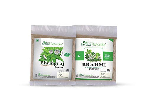 COMBO OFFER OF Bhringraj Powder 50 gm + Brahmi Powder 50 gm - For Natural Hair Care - Hair Growth - Hair Loss Prevention