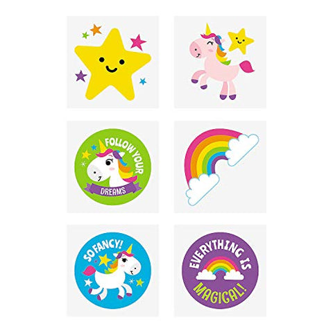 RAINBOW UNICORN TATTOOS (6DZ) - Apparel Accessories - 72 Pieces