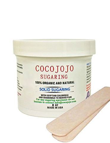 8 Oz Cocojojo Bikini Solid Sugaring, Hard Sugar Wax 100% Natural Hard Paste Sugaring Hair Remover + 2 Spatulas