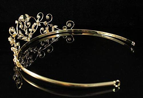 Janfashions Faux Pearl Clear White Austrian Rhinestone Crystal Tiara Hair Crown Headband Veil Princess Queen Theater Wedding Bridal Prom Party T1535g Gold-plated