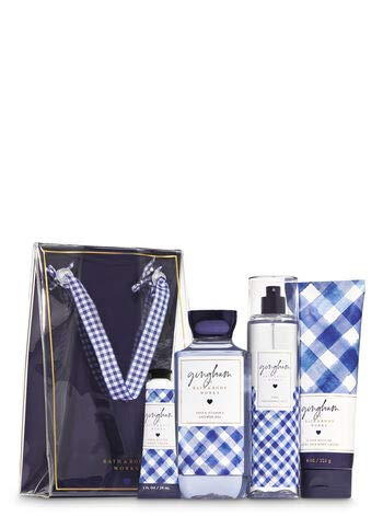 Bath and Body Works GINGHAM Gift Bag Set - Body Lotion - Shower Gel - Hand Cream and Fine Fragrance Mist - Full Size