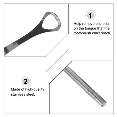 Healifty 4Pcs Tongue Scraper Stainless Steel Tongue Coating Cleaner Portable Tongue Cleaning Tools Hygiene Dental Oral Care Supplies for Adult Silver