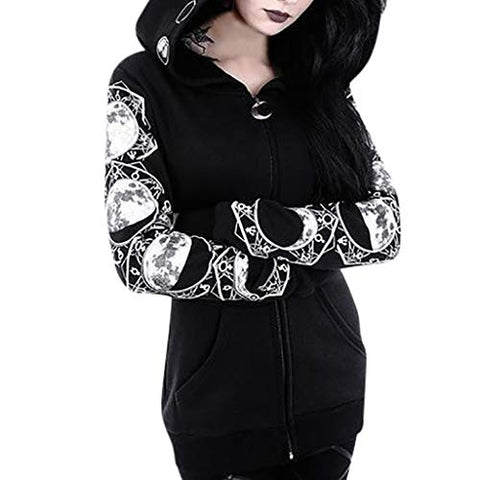 Jushye Women Zipper Hoodie Long Sleeve Gothic Vintage Sweatshirt Plus Size Punk Moon Print Coat Outwear (XXXL, Black)