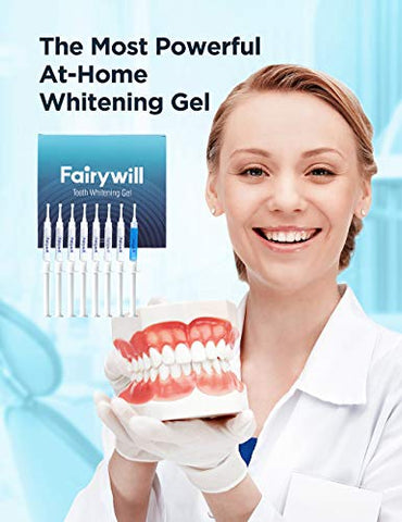 Fairywill Teeth Whitening Gel Refill 8 Packs, Reduced Sensitive 35% Carbamide Peroxide Whitening Gel for Trays, Profesional Teeth Bleach Gel for Fast Result, Remove Tough Stain
