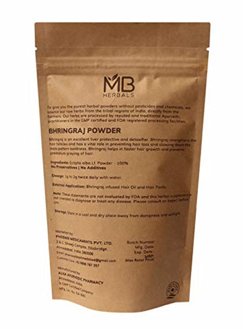 MB Herbals Pure Bhringraj Powder 100 Grams | Pure Bhringaraj Eclipta Alba Powder Promotes Healthy Hair Growth