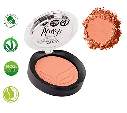 PuroBIO Certified Organic Highly Pigmented Matte Blush Color 02 Coral Pink. Made with Argan Oil, Cocoa Extract, Apricot Powder, Shea Butter, Avocado Oil. VEGAN. NICKEL TESTED. MADE IN ITALY