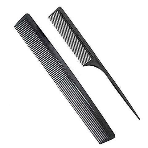 Professional Teasing Comb, Fine and Wide Tooth Hair Barber Comb, Black Carbon Fiber Cutting Comb, Styling Comb, Hairdressing Comb For All Hair Types