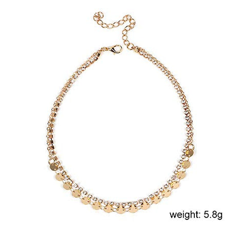 Jovono Fashion Crystal Sequins Choker Necklaces Rhinestone Necklace Chain Jewelry for Women and Girls (Gold)