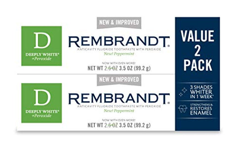 Rembrandt Deeply White + Peroxide Whitening Toothpaste, Peppermint Flavor, 3.5 Ounce (2 Pack) (Packa