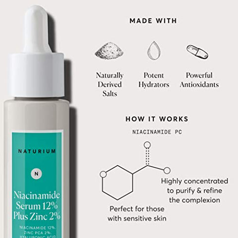 Niacinamide Serum 12% Plus Zinc 2%   1oz, Vitamin B3, Minimize Pores, Balance Oil Production, Anti A