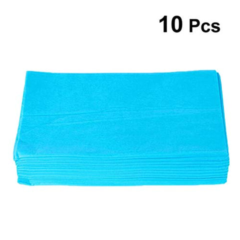 Exceart 10PCS Disposable Bed Cover Portable Disposable SPA Salon Non Woven Bed Sheets for Shop SPA Beauty Salon Bedding Supplies (Blue)