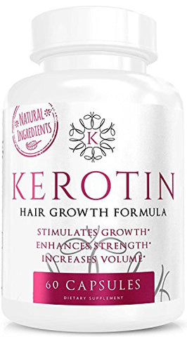 Kerotin Hair Growth Vitamins For Natural Longer, Stronger, Healthier Hair   Hair Loss Supplement Enr