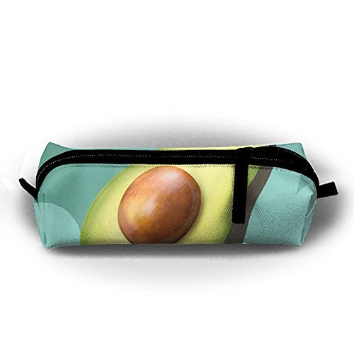 Avocado Fruit Decor Pattern Pen Pencil Stationery Bag Makeup Case Travel Cosmetic Brush Accessories Toiletries Pouch Bags Zipper Resistance Carry Handle Power Lines Hanging Handbag Documents