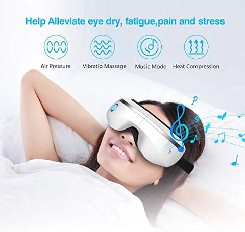 XINHUANG Eye-Massager-with-Heat-Music,Vibration,Air Pressure Electric Portable Shiatsu Massager for Dry Eyes Eyestrain Temple Headaches Fatigue Relief