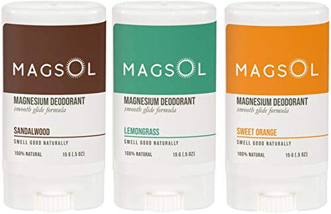 MAGSOL Magnesium Deodorant 3 Pack Set 0.5 oz each (Neutral Travel 3-Pack)