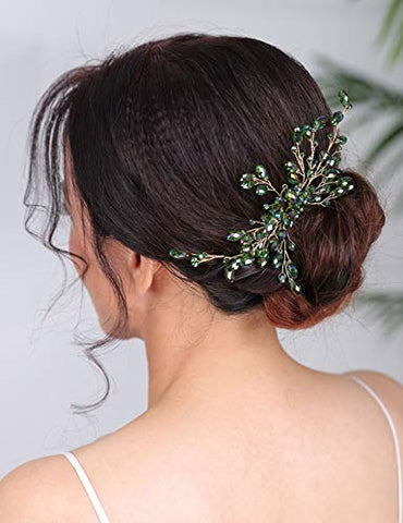 Denifery Bridal Hair Comb Sparkly Crystal Wedding Comb Bridal Hair Clip Colorful Hair Pin Party Wedding Hair Accessory for Brides (Green)