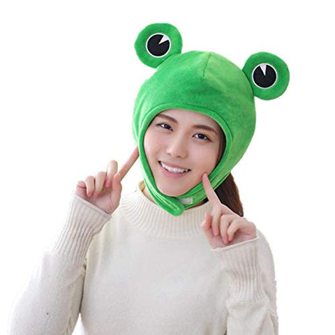 Cute Plush Frog hat Scarf Cap Ears Winter ski hat Full Headgear Novelty Party Dress up Cosplay Costume Hat Hearwear Green