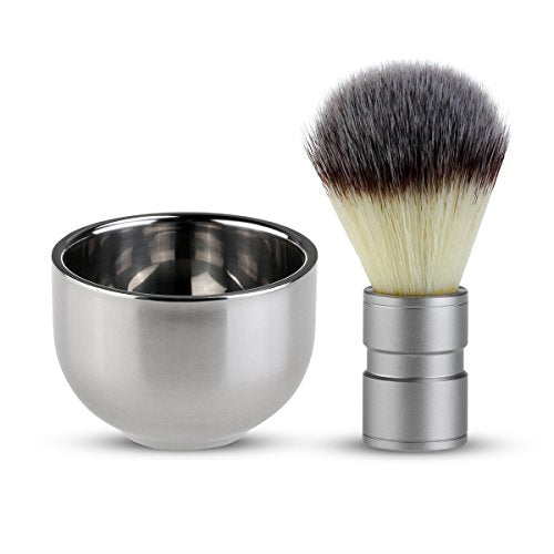Shaving Brush with Double Layer Stainless Steel Shave Bowl Mug