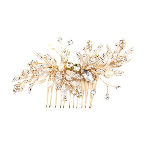 Minkissy Rhinestone Hair Comb Pearl Hair Insert Comb Pearl Inlaid Comb Wedding Bridal Hair Comb Clip for Girls Women Bride Golden