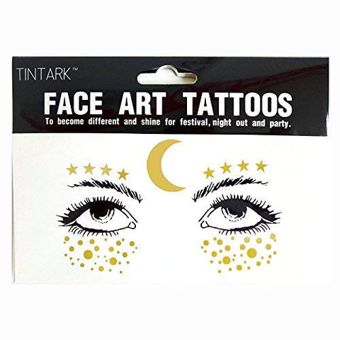 LINGPAR 3 Sheets Face Tattoo Sticker Metallic Shiny Temporary Water Transfer Tattoo for Professional Make Up Dancer Costume Parties, Shows Gold Glitter