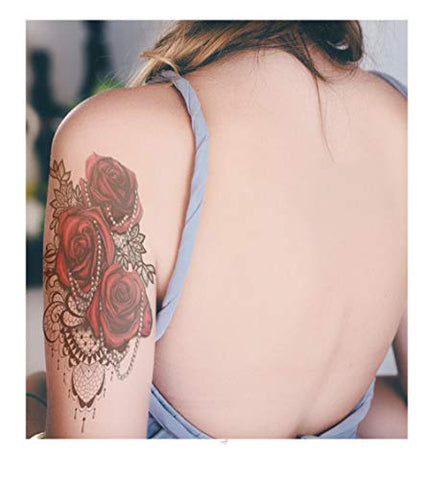 Kekemm Temporary Tattoos Flower Arm Tattoo Stickers Waterproof Men And Women Lasting Simulation Tattoo Sexy Flower Arm 10 Sheets