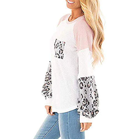 Xinantime Womens Leopard Printed Long Balloon Sleeve Knit Shirts Loose Tunic Top Pullover Sweater (White,S)