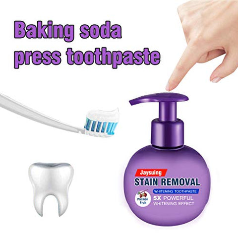 220g Intensive Stain Removal Whitening Toothpaste, Pressed Soda Toothpaste, Oral Care Fight Bleeding Gums Toothpaste Purple