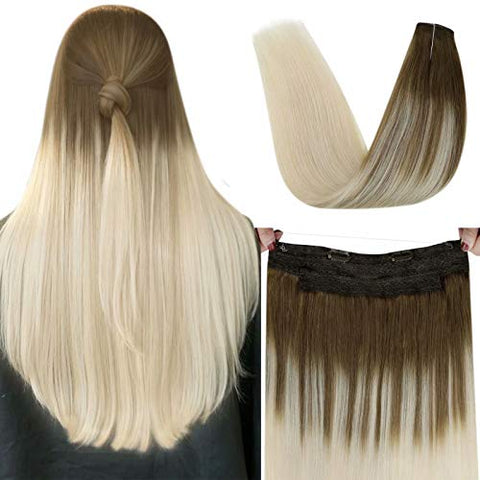 LaaVoo 18 Inch West Remy Human Hair Halo Hair Extension Invisible Wire in Hair Piece Secret Fish Line Hair Extensions For Women Balayage Light Brown to Light Blonde 80g 11