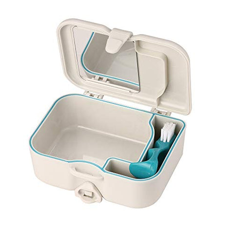 Denture Box With Mirror, Denture Cup With Brush Kit, Denture Bath Box with Lid, Dentures Cup Holder Denture Container With Lid Leak Proof for Adults Mouth Guard Night Gum Shield Travel Storage Case
