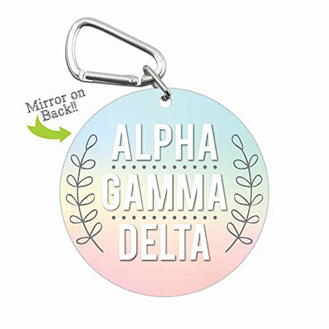 Alpha Gamma Delta Sorority Personal Mini Mirror with Carabiner Clip 4-Pack