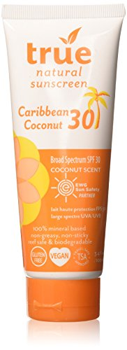 True Natural Broad Spectrum SPF 30 Caribbean Coconut Sunscreen, 3.4 Ounce