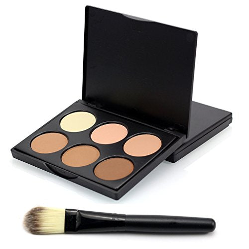 FantasyDay 6 Colors Face Powder Contouring Palette Pressed Powder Foundation Face Corrector and Highlighter Camouflage Makeup Palette Contouring Kit With Brush #1