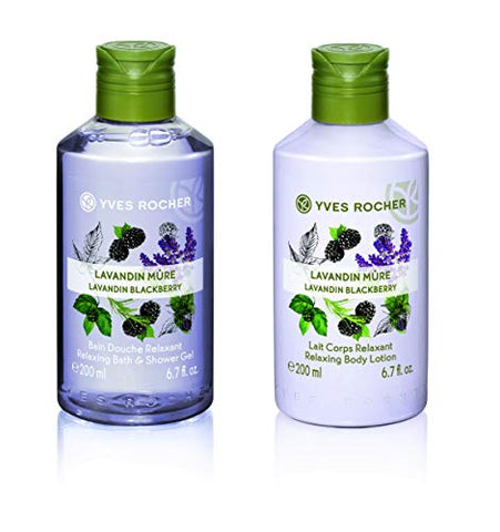 Yves Rocher Les Plaisirs Nature Relaxing Bath & Shower Gel - Lavandin Blackberry, 200 ml./6.7 fl.oz. + Relaxing Body Lotion - Lavandin Blackberry, 200 ml./6.7 fl.oz.