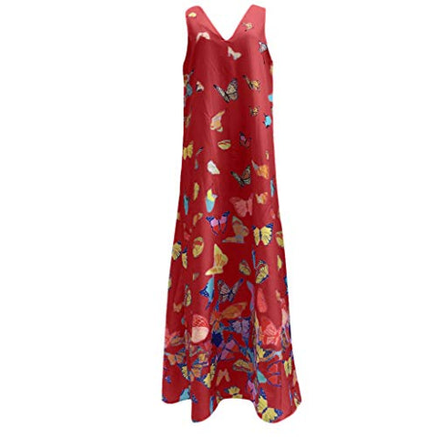 TEVEQ Women Maxi Dress Casual Vintage Dress Floral Sleeveless Loose Party Long Dress Bohemia Dress Red