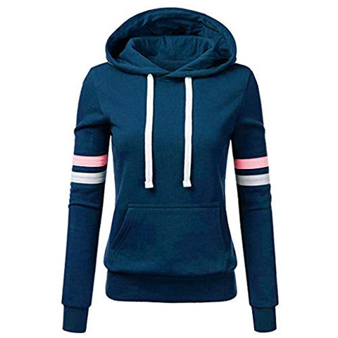 Xinantime Womens Casual Stripe Sweatshirt Long Sleeve Blouse Hooded Pocket Pullover Tops Shirt (Blue,S)