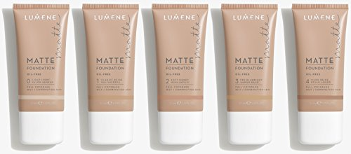 Lumene Matt Control Oil Free Foundation for Oily and Combination Skin Full Coverage with Arctic Cloudberry 30 ml / 1.0 Fl.Oz. (1 Classic Beige)