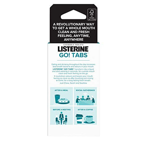Listerine Go! Tabs Sugar Free Tablets with Clean Mint Flavour for Fresh Breath On-The-Go, Pack of 16 Tablets
